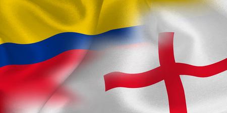 Colombia England national flag soccer ball Foto de archivo - 103679681