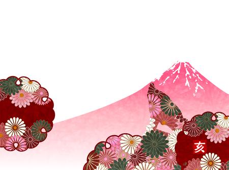 Mt. Fuji New Years card background