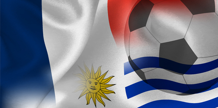 France Uruguay national flag soccer ball Foto de archivo - 103929034