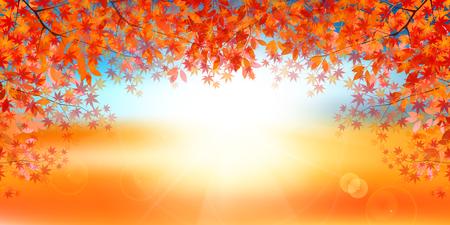 Autumn leaves Maple autumn background Ilustrace