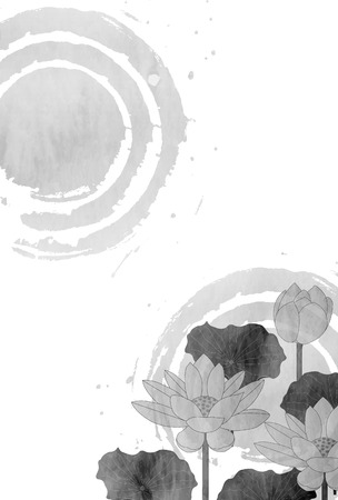 Lotus mourning postcard background Illustration