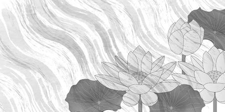 Lotus mourning postcard background Ilustração