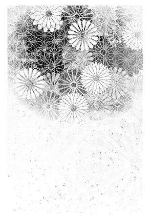 Chrysanthemum mourning postcard background Illustration