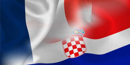 France Croatia national flag soccer ball Ilustração