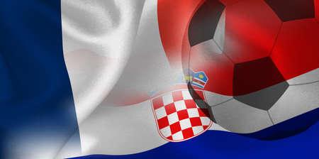 France Croatia national flag soccer ball Foto de archivo - 105206240