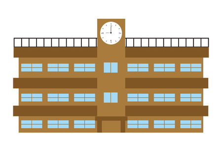 School Building Clock Icon