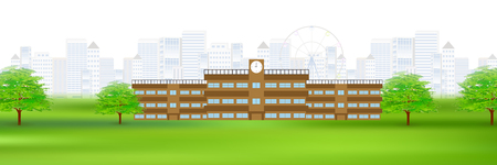 School Building Landscape Background