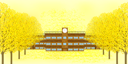 School Building Autumn Background