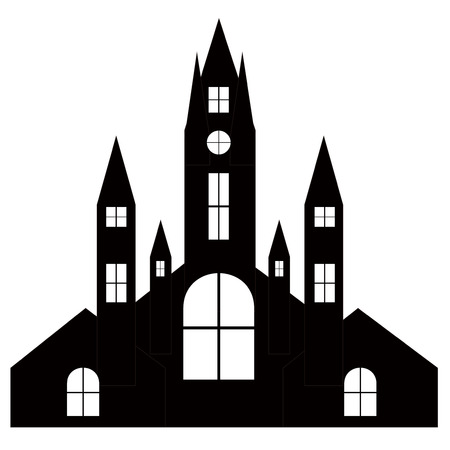 Halloween castle church silhouette