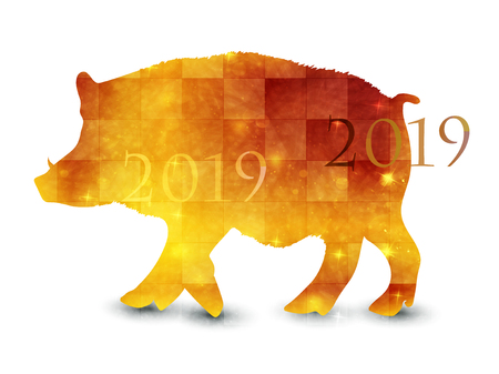 boar new year card Japanese paper icon Illustration