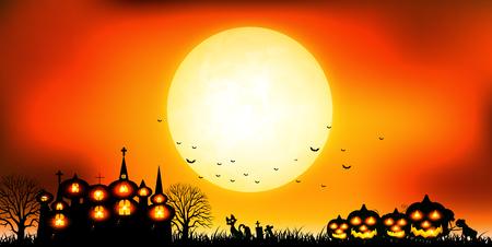 Halloween autumn castle background
