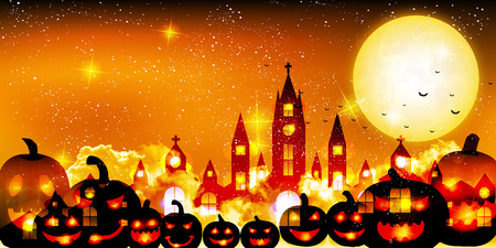 Halloween autumn castle background