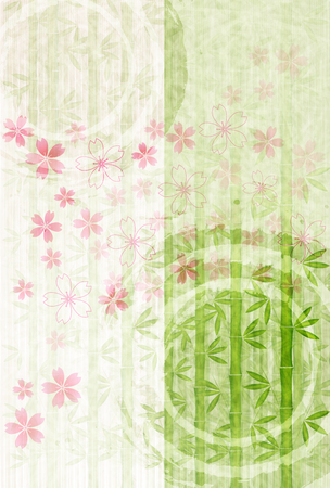 Cherry Blossoms Bamboo greeting card background