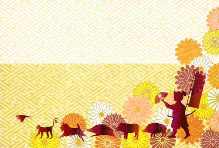 boar New Year card Person background