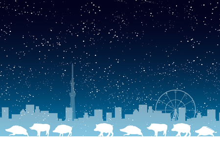 boar New Year card Tokyo background