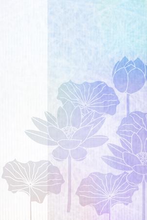 Lotus growing postcard background Illustration