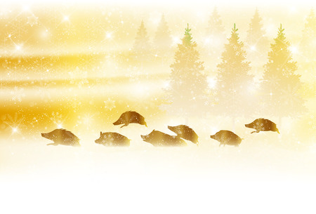 boar New Year card Snow background