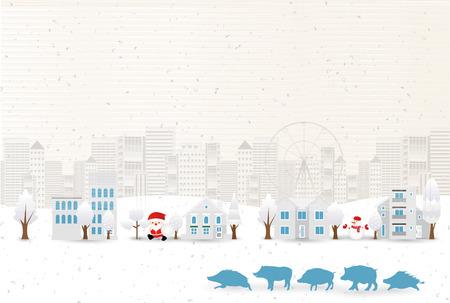 Eber Neujahrskarte Japanischer Papierhintergrund
