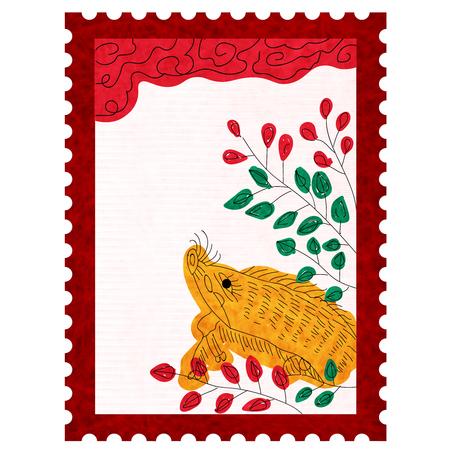 boar New Year card Hagi Icon
