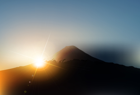 Fuji sunrise greeting card background