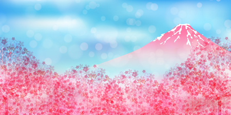 Mt. Fuji cherry blossom background Vectores