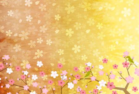 Japanese paper Sakura New Years card background
