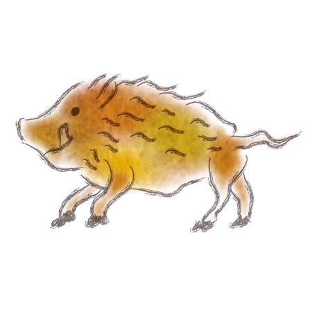boar New Year card Animals icon