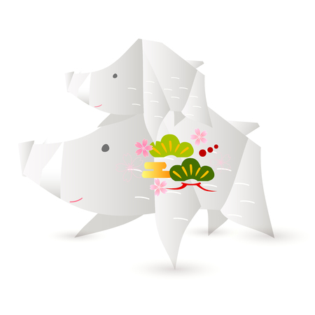 boar New Year card Origami icon