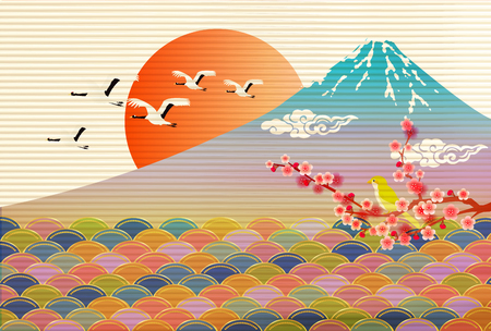 Japanese paper Fuji New Years card background Illustration