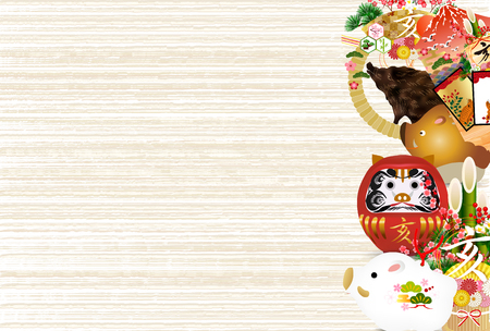 boar New Year card background Illustration