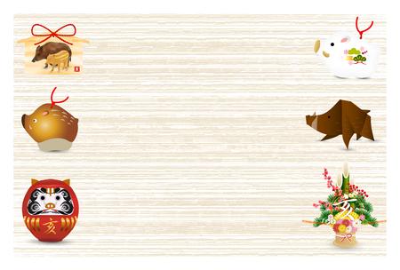 boar New Year card background Illustration