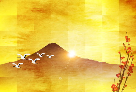Fuji sunrise New Year card background