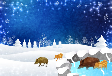 boar New Year card Snow background
