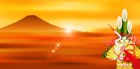 Fuji first selling Sunrise background Stock Vector - 113290238