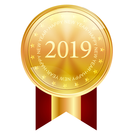 2019 New Year Medal Icon Foto de archivo - 113290731