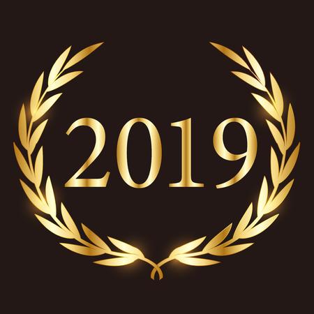 2019 gold Laurel icon Banque d'images - 113290736