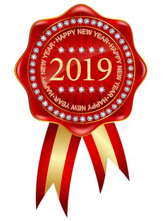 2019 New Year Medal Icon Foto de archivo - 113290740