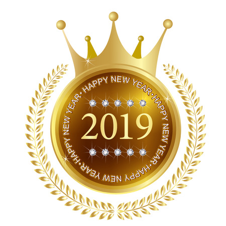 2019 New Year Medal Icon Banque d'images - 113290749