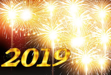 2019 New Year Fireworks background Vektorové ilustrace