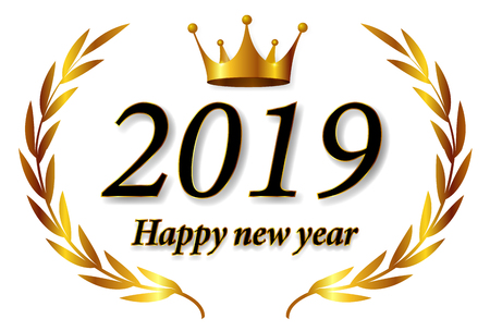 2019 New Year crown icon Banque d'images - 113290892