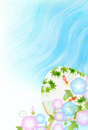 Summer greeting goldfish asagao background Illustration