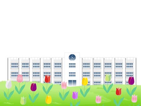 Tulip flower school background Illustration