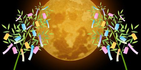 Tanabata moon summer background Illustration