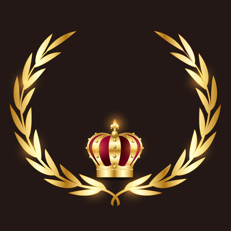 Crown laurel silhouette icon Banque d'images - 122210259