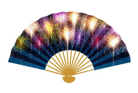 Fireworks fan Japanese paper background