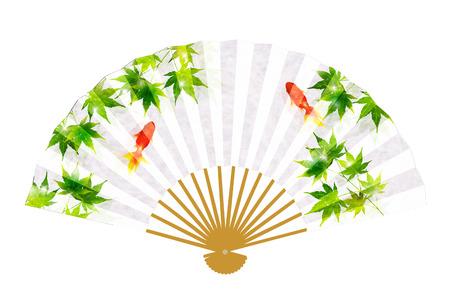 Goldfish Maple Japanese paper icon Illustration