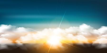 Fond de paysage ciel soleil matin