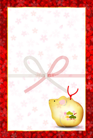 Rat New Years card Japanese paper background
