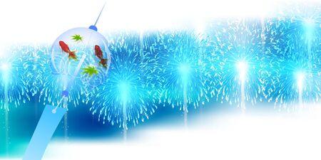 Fireworks summer summer greeting card background Imagens - 124546399