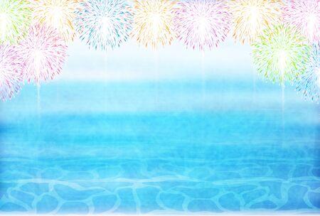 Fireworks summer sea background Ilustração
